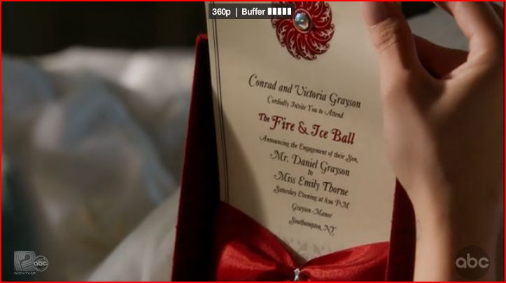 Fire and Ice Ball Invitations http://randomrecaps.wordpress.com/grand-opening/revenge-recap-episode-14-the-marriage-of-heaven-and-hell/
